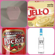 Strawberry Cream Pudding Shots  1 small Pkg. vanilla instant pudding 3/4 Cup Milk  1/2 Cup Strawberry schnapps  1/4 Cup whipped cream vodka 8oz tub Cool Whip Directions 1. Whisk together the milk, liquor, and instant pudding mix in a bowl until combined. 2. Add cool whip a little at a time with whisk. 3 Spoon the pudding mixture into shot glasses, disposable shot cups or 1 or 2 ounce cups with lids. Place in freezer for at least 2 hours