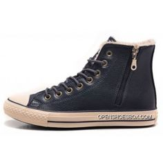 306352371b41d1 Converse Blue Leather Velvet Side Zip Winter Chuck Taylor All Star High  Tops Sneakers Lastest