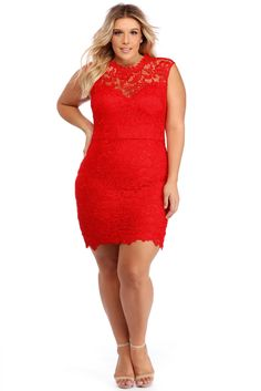 FINAL SALE - Plus Mayra Red Crochet Lace Midi Dress 1bf292953