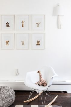 Baby animals in modern minimalistic nursery with photograph portraits