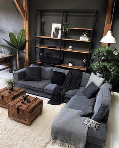 A modern and bright apartment with wooden details interior design,interior Living Room Paint, Living Room Decor, Living Rooms, Loft Design, House Design, Home Interior Design, Interior Decorating, Interior Doors, Gray Interior