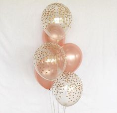 Rose Gold and Clear Gold Confetti Latex Balloons~First Birthday~Baby Shower Girl Birthday Party~Rose Gold Balloon~Gold Confetti Look Balloon