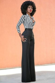 Style Pantry | Fitted Striped Shirt + High Waist Pintucked Trousers High Waist Pants, Highwaisted Trousers, High Waisted Black Trousers, Women's Trousers, Slacks, High Fashion Style, Tall Women Fashion, Love Fashion, Autumn Fashion