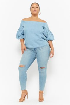 Plus Size Chambray Balloon-Sleeve Top | Forever21 #plussize #womenswear #womensfashion #clothing #outfits #trends #lookoftheday #trending