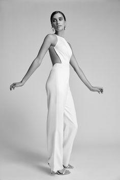 Wedding Jumpsuit, Backless Jumpsuit, White Jumpsuit, Sarah Seven, Wide Trousers, Stretch Satin, Wedding Attire, Wedding Outfits, Designer Wedding Dresses