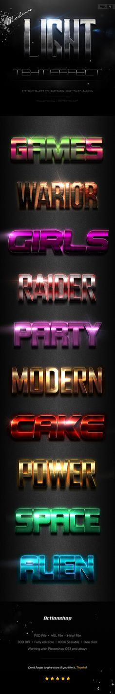 10 Modern Light #Text Effects Vol.4 - Text Effects #Styles Download here: https://graphicriver.net/item/10-modern-light-text-effects-vol4/19689133?ref=alena994