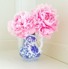 Peonies in a pretty vase.
