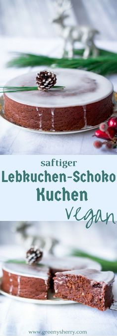 Saftiger Lebkuchen-Schokoladen Kuchen [vegane Weihnachten] www.greenysherry.com