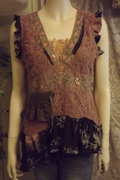 Lagenlook Shabby Romantic Blouse Boho Chic Lace Ruffled Upcycled Gypsy Silk Size M-L