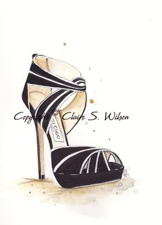 Jimmy Choo Glam  - Fashion illustration Art Print 8x10 by claireswilson on Etsy, $25.00