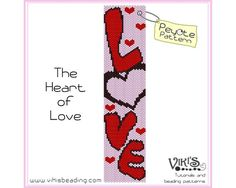 The Heart of Love  Peyote Pattern for cuff by VikisBeadingPatterns, $6.50