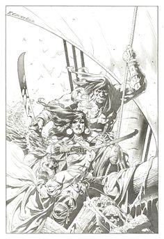 Conan and Belit by Tomás Giorello Comic Art Frank Frazetta, Fantasy Sword, Fantasy Art, Fantasy Images, Fantasy Books, Comic Book Characters, Comic Character, Character Design, Marvel Comics