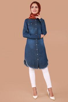 61b0de55a2fdb MİSS VALLE - Eteği Püsküllü Kot Tunik MSW9131 Koyu Kot Müslüman Modası,  Abaya Modası,