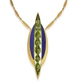 """Necklace """"Genesis"""", Heliodor 110.98 ct, Lapislazuli, 750/- Yellow Gold / Jutta Munsteiner"""