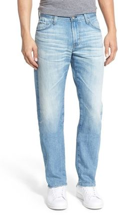 AG 'Graduate' Slim Straight Leg Jeans (24 Year White Washed)