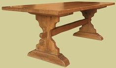 Trestle table, bespoke handmade from solid oak and based on a medieval dining table design. Shown here in our Chalvington Old Flaxen colour, we actually use this one as our showroom desk, so it's had to put up with the rigours of daily use! Dining Table Height, Trestle Dining Tables, Dining Table Design, Farm Tables, Iron Table, Dining Furniture, Solid Oak, Medieval, Pc Desk