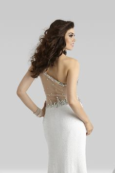 10b9ca2eca Clarisse 2014 Shimmering Turquoise and White One Shoulder Sequin Sheer Open  Back Prom Gown 2363