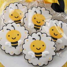 Bee Cookies by TS Cookies on Etsy these would be so cute for a bake sale at taylors school since their mascot is a hornet!!