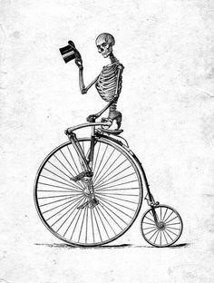 skeleton riding bike