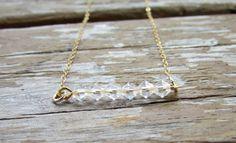 Swarovski Crystal Bar Necklace, Layered Bar Necklace, Crystal Necklace, Beaded Bar Necklace, Swarovski Crystal Jewelry, Gold Necklace on Etsy, $26.00