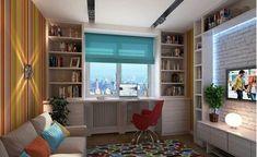Шкафы вокруг окна, это удобно и экономит пространство в комнате