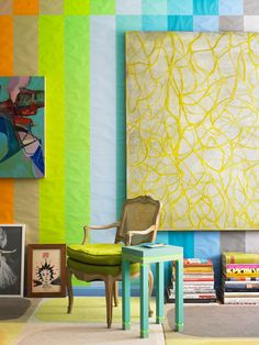Doug and Gene Meyer rug in Doug Meyer's living room. Brilliant color coordination.