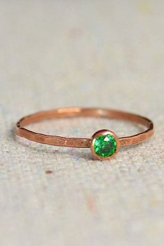 "Delicate Emerald Ring (May's Mother's/Birthstone Ring) Minimal & Simple - Pure Copper, Rustic, Everyday Ring. Perfect for a flash of copper and color on the hand, without being to ""much. Emerald Jewelry, Copper Jewelry, Emerald Rings, Nice Jewelry, Morganite Engagement, Engagement Ring Settings, May Birthstone Rings, Thing 1, Sapphire Wedding"