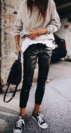 8abf46924075 30 Beautiful Leather Outfit Ideas Copy Now. Casual Sneakers OutfitChucks  OutfitWhite Tshirt OutfitBlack ...