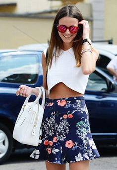 Why don't you make me? blog. White crop top and bag, navy blue printed ruffled skirt, and mirrored red sunglasses