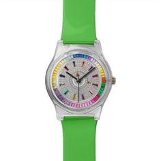 green multicolor rhinestone watch