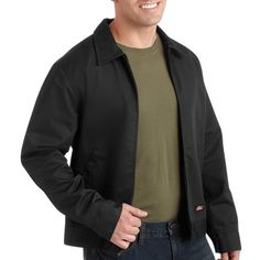 This Genuine Dickies men's lined service jacket is practical and stylish. They have two front pockets to hold all of your belongings. This jacket is made of cotton and polyester so it is lightweight and comfortable. This jacket is functional and versatile so it is perfect for a multitude of occasions.