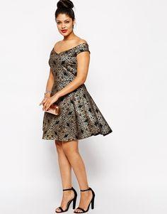 d9048b1d284 Pink Clove Metallic Brocade Bardot Skater Dress. Bardot Skater DressCurvy  FashionPlus Size FashionLadies ...