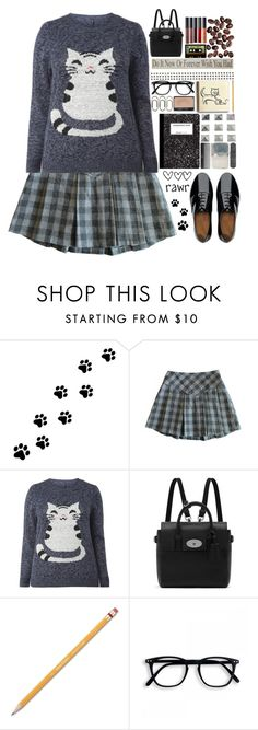 """Back to school ♡♡"" by preciouspearll ❤ liked on Polyvore featuring WALL, Madewell, Mulberry, Paper Mate, FitFlop, school, uniform and cat"