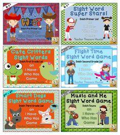 6 I have - Who has? Sight Word Games - Mega Bundle - Pre-primer-3rd & Nouns
