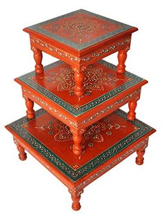 Rajasthani Handpainted Work Design Puja Chowki & Bajot Set Of 3 Pcs Orange Color Painted Trays, Hand Painted, Painted Tables, Arti Thali Decoration, Painted Furniture, Furniture Design, Wooden Footstool, Wooden Tables, Orange Color