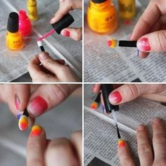 This nail design is very easy to make, cute and not at least funny. You will need: - nail base coat; - two matching colours (red and yellow in this