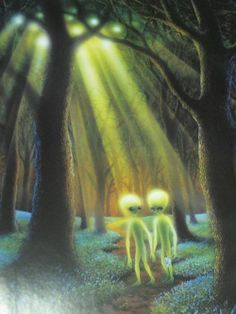 Aliens walking in the woods. Aliens And Ufos, Ancient Aliens, Tantra, Cosmos, Twin Flame Love, Twin Flames, Alien Planet, Alien Art, Crop Circles
