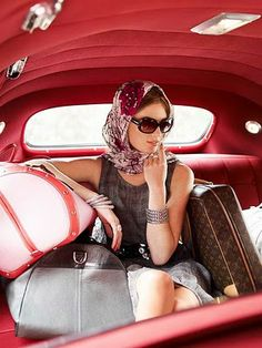 """Retro red vintage car interior is just lovely. Person who originally pinned it aptly titled the photo """"Paris Dreams."""" ..... Cue major swoon-age!"""