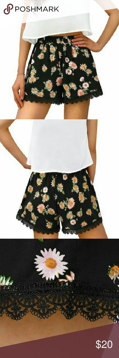 Printed Lace Trim Elastic Waist Shorts 100% Rayon. Machine Wash Inside out. Wear yours with monochrome separates and sandals to beautifully complete your outfit! Shorts