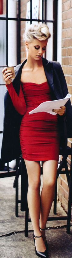 Red dress. YES, if I wanted to look like a high-end escort waiting at the hotel bar... #WTF