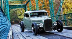 Hot Rod on bridge Custom Muscle Cars, Custom Cars, Classic Hot Rod, Classic Cars, Us Cars, Race Cars, Hot Rod Autos, Traditional Hot Rod, American Muscle Cars