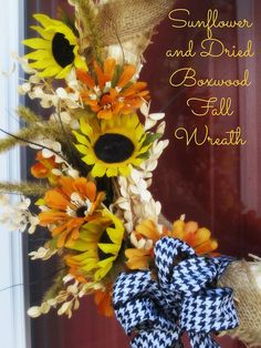 Sunflower & Dried Boxwood Fall Wreath