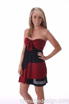 University of South Carolina Gamecocks Garnet & Black Striped Tube Dress