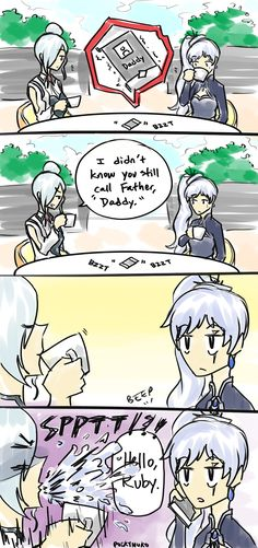 """pockynuko: """"based off this: https://jaune-isms.tumblr.com/post/159849818681/weiss-scroll-starts-ringing-winter-looks-at """""""