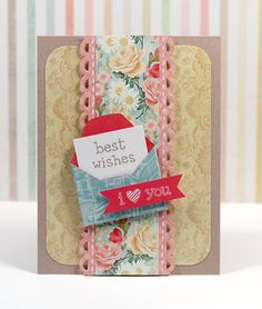 Best Wishes Mini Envelope Card; i love this idea of sentiment coming out of a mini envelope