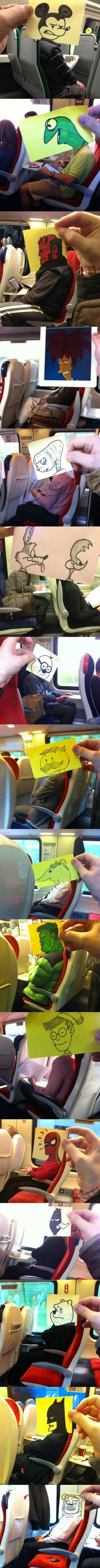 How to pass time on the train When you know how to draw. too cute!