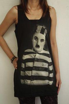 Hip Hop Charlie Chaplin Vest Women Tank Top Shirt Vest Singlet -Fashion Tops