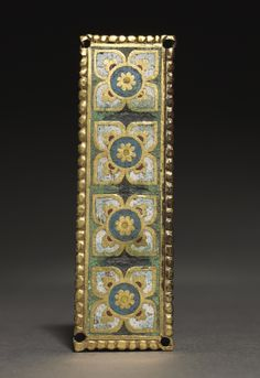 Plaque, probably from a Reliquary Shrine, c. 1200-1250 Mosan, Valley of the Meuse, Gothic period, mid-13th century gilded copper; champlevé enamel, Overall: 2.90 x 9.80 cm
