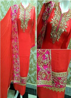 Georgette Mirror Work Suit Work Suits, Mirror Work, Sari, Embroidery, Fashion, Saree, Moda, Work Outfits, Needlepoint