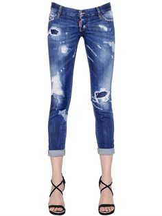 DSQUARED2 Pat Washed & Destroyed Denim Jeans, Blue. #dsquared2 #cloth #jeans Denim Jeans, Denim Overalls, Denim Outfit, Skinny Jeans, Skinny Fit, Patchwork Jeans, Vintage Jeans, Girls Jeans, Fashion Wear
